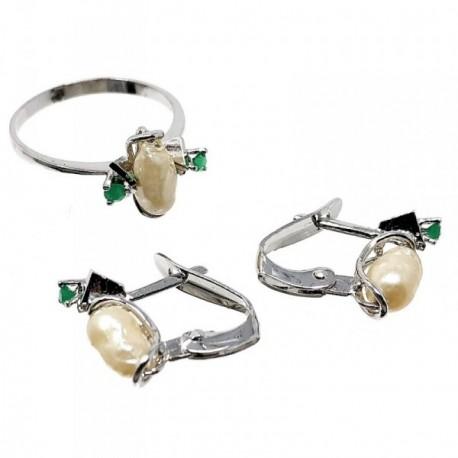 Juego plata ley 925m pendientes sortija talla 14 perlas [AB5166]