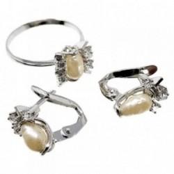 Juego plata ley 925m pendientes sortija talla 17 perlas [AB5169]