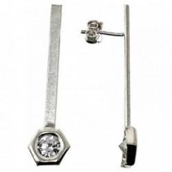 Pendientes plata Ley 925m largos 42mm. circonitas hexágono [AB5078]