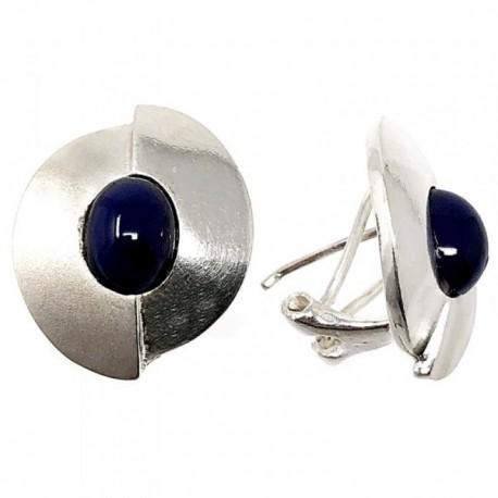 Pendientes plata Ley 925m circulares 18mm. piedra morada [AB5083]