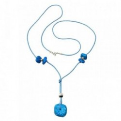 Gargantilla plata Ley 925m largo 75cm. piedras azules cordón [AB5084]