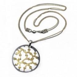 Gargantilla plata Ley 925m 43cm. diamantada bicolor circular [AB5087]