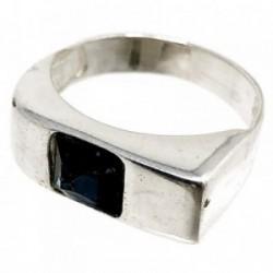 Sortija plata Ley 925m talla 15 circonita azul cuadrada [AB5134]