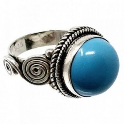 Sortija plata Ley 925m talla 12 piedra azul sintética [AB5138]