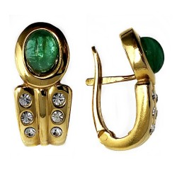 Pendientes bisutería metal dorados 23mm. piedra verde [AB4995]