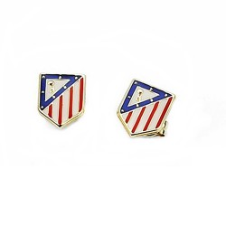 Pendientes escudo Atlético de Madrid oro de ley 9k esmalte [7008]