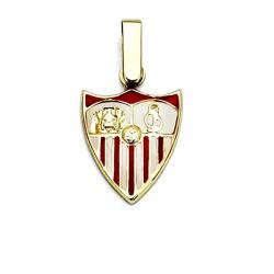 Colgante escudo Sevilla FC oro de ley 18k 14mm. esmalte [8532]