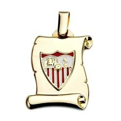 Colgante pergamino escudo Sevilla FC oro de ley 18k 26mm. [8542]