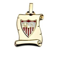 Colgante pergamino escudo Sevilla FC oro de ley 18k 21mm. [8543]