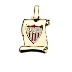 Colgante pergamino escudo Sevilla FC oro de ley 18k 17mm. [8544]