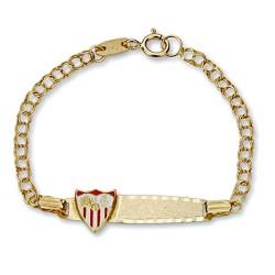 Pulsera esclava escudo Sevilla FC oro de ley 18k bebé esmalte [8548]