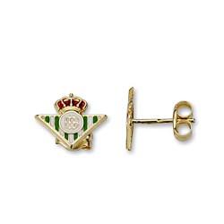 Pendientes escudo Real Betis oro de ley 9k 11m. cierre presión [8716]