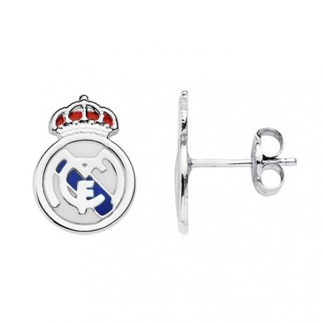Pendientes escudo Real Madrid oro blanco ley 18k [AB4594]