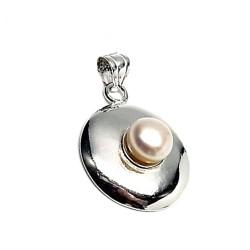 Colgante plata ley 925m 27mm. redondo perla botón imitación [AA8465]