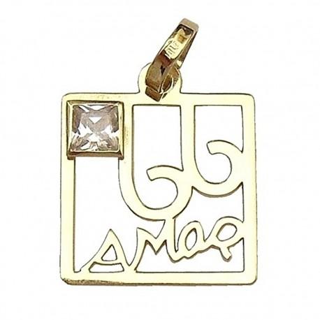 Colgante cuadrado oro [645]