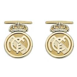 Gemelos escudo Real Madrid oro de ley 18k lisos [8466]