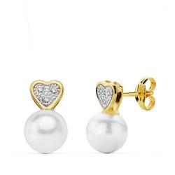 Pendientes oro 18k perla shell corazón multipiedra 11mm. [AB3016]