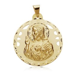 Medalla oro 18k Virgen del Carmen Corazón Jesús 42mm. 12,50gr. [AB3409]