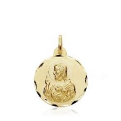Medalla oro 18k escapulario Virgen del Carmen 18mm. [AB3437]