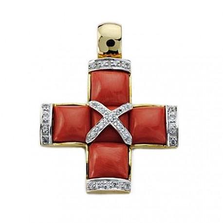Colgante cruz oro 18k circonita y coral 29mm. [AA0121]