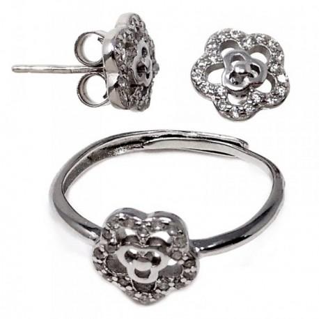 Conjunto plata Ley 925m circonitas motivo flor calado mujer