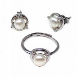 Conjunto plata Ley 925m perla cultivada circonitas círculo [AB5578]