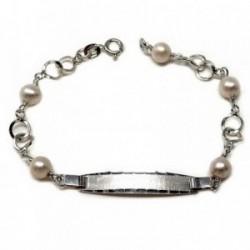 Pulsera plata ley 925m esclava 18cm perla cultivada círculos [AB5579]