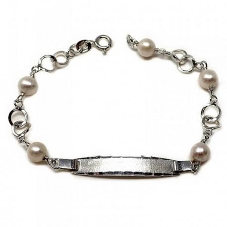 8bd97081038b Pulsera plata ley 925m esclava 18cm perla cultivada círculos [AB5579]