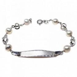 Pulsera plata ley 925m esclava 17cm perla cultivada jaula [AB5580]