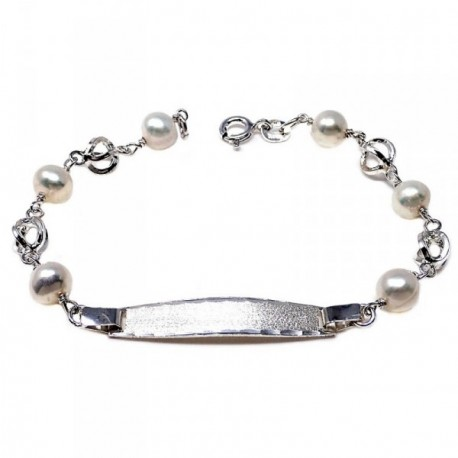 Pulsera plata ley 925m esclava 17cm perla cultivada jaula cierre reasa niña