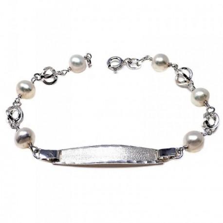 Pulsera plata ley 925m esclava 17cm perla cultivada jaula [AB5580GR]