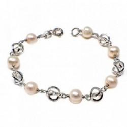 Pulsera plata ley 925m 16cm perla cultivada entrepieza jaula [AB5581]