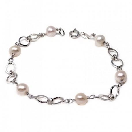 Pulsera plata Ley 925m niña 18cm. perla cultivada entrepieza motivo círculos cierre reasa