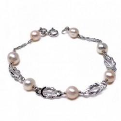 Pulsera plata ley 925m 16cm. perla cultivada nudo marinero [AB5583]