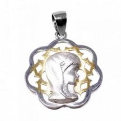 Colgante plata Ley 925m bicolor Virgen Niña 20mm. forma flor niña