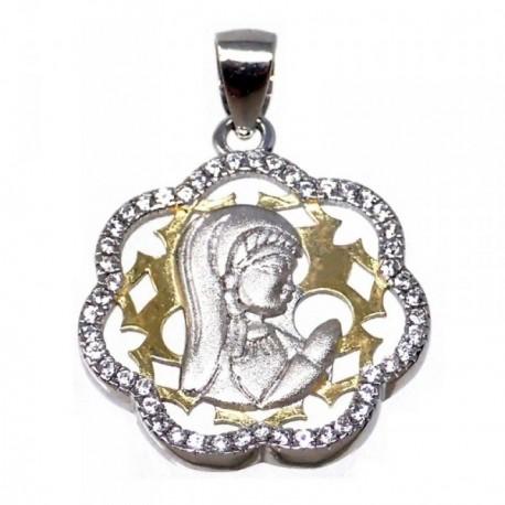 Colgante plata Ley 925m bicolor Virgen Niña flor circonitas [AB5586]