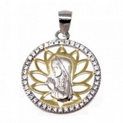 Colgante plata Ley 925m bicolor Virgen Niña forma redonda [AB5587]