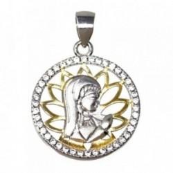 Colgante plata Ley 925m bicolor 20mm. Virgen Niña circonitas [AB5588]