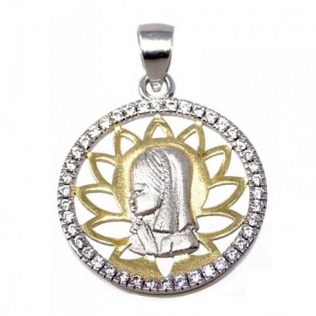 Colgante plata Ley 925m bicolor Virgen Niña circonitas [AB5589]