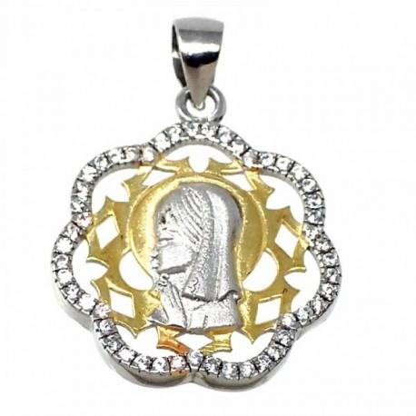 Colgante plata Ley 925m bicolor Virgen Niña 19.5mm. forma flor niña