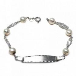 Pulsera plata ley 925m esclava 17.5cm. perla cultivada nudo [AB5591]