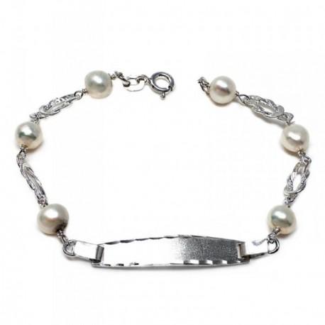 Pulsera plata ley 925m esclava 17.5cm. perla cultivada nudo cierre reasa niña
