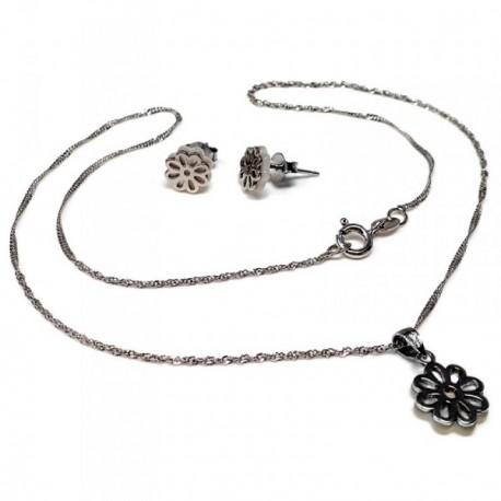 Conjunto plata Ley 925m nácar gargantilla pendientes flor [AB5592]