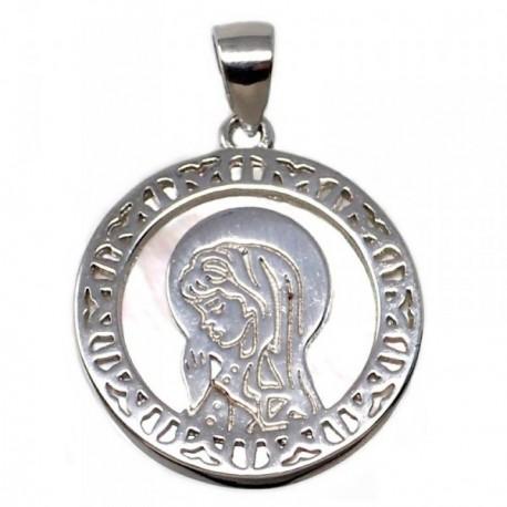 Colgante plata Ley 925m Virgen Niña nácar motivo rosetón [AB5593]