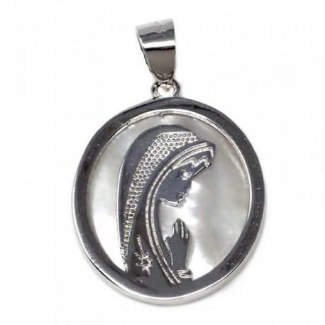 Colgante plata Ley 925m Virgen Niña nácar oval cerco [AB5594]