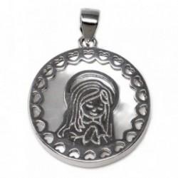 Colgante plata Ley 925m Virgen Niña nácar cerco corazones [AB5595]