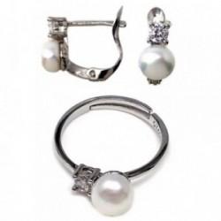 Conjunto plata Ley 925m circonitas motivo perla cultivada [AB5596]