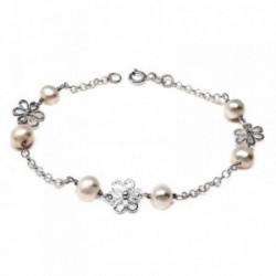 Pulsera plata ley 925m 18cm. perla cultivada motivo flor [AB5598]