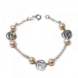 Pulsera plata ley 925m 18cm. perla cultivada motivo rosas [AB5599]