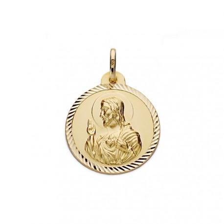 Medalla oro 18k Virgen del Carmen y Cristo Jesús 22mm. [AA0559]
